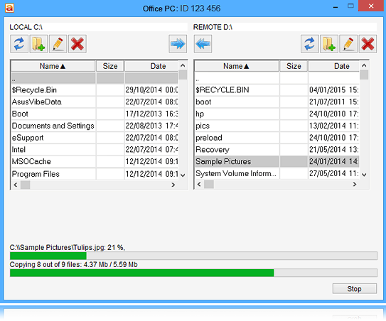 File manager allows you to exchange files with your partner with ability to restore upload/download.